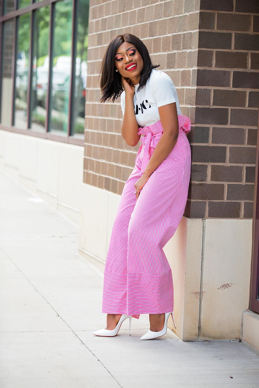 graphic tee and zara high-waist stripe pants, www.jadore-fashion.com