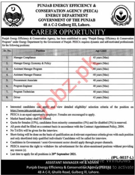 Jobs in Punjab Energy Efficiency and Conservation Agency PEECA