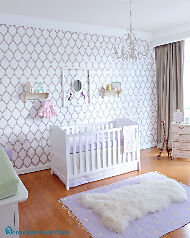 Marrakech stenciled wall for a purple baby girl nursery