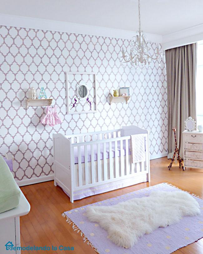 Marrakech stenciled wall for a purple baby girl nursery