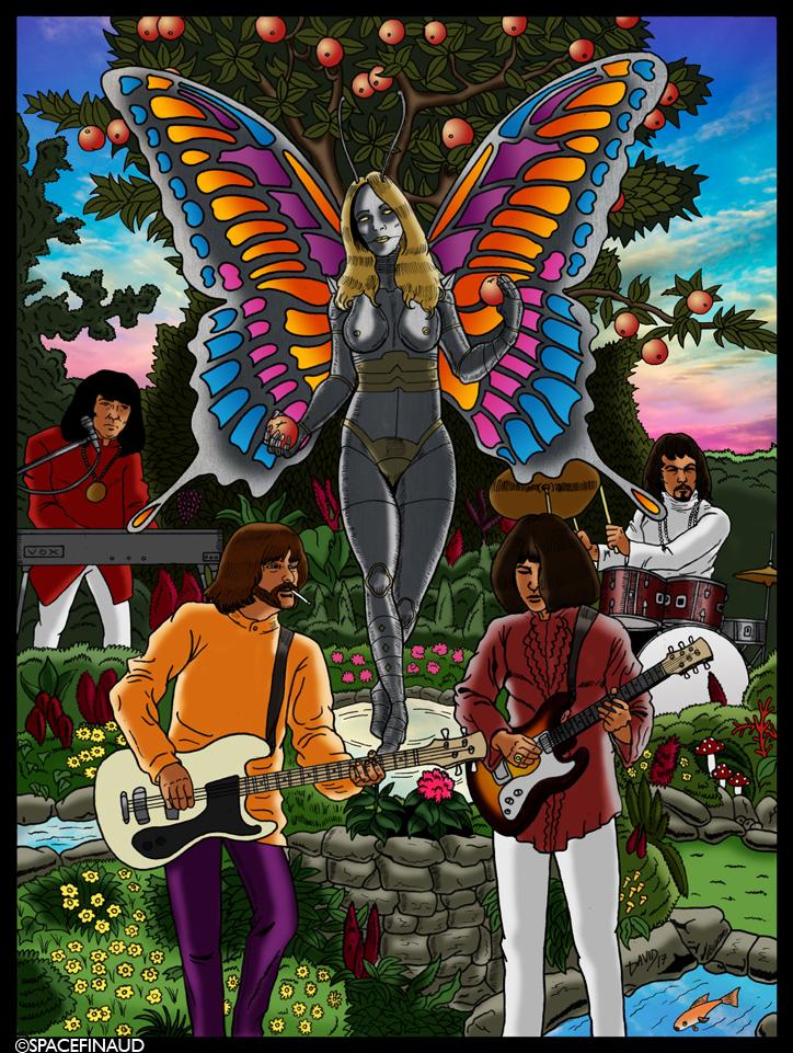 """Après avoir traversé la Manche pour vous faire découvrir ou redécouvrir les groupes anglais comme Emerson, lake & Palmer et les Moody Blues, traversons directement l'Atlantique, traversons carrément l'Amérique entier, en direction de San Diego. c'est de là qu'a été crée l'un des plus célèbres groupes psychédéliques des années 60 : Iron Butterfly. On connait ce groupe que pour un morceau unique de 17 minutes : """"In the garden Of Eden"""", qui veut dire en langage sous LSD : In-A-Gadda-Da-Vida. Malheureusement, le groupe ne connaîtra pas autant de succès après l'album à succès. Malgré le nombre important de changements de Line-up, j'ai dessiné les membres les plus connus. C'est à dire l'époque """"In-A-Gadda-Da-Vida"""".   Après la première séparation du groupe en 1971, il est fort intéressant de noter que le bassiste Lee Dorman et le guitariste Larry « Rhino » Reinhardt (qui ne figure pas dans le dessin, il avait remplacer Erik Braunn, en 1969) faisait partie du groupe Captain Beyond en 1971.         Membres : Doug Ingle : (chant, claviers) Erik Braunn : (guitare) Lee Dorman : (basse) Ron Bushy : (batterie)  Des albums à conseiller : 1967 : Heavy 1968 : In-A-Gadda-Da-Vida 1969 : Ball 1993 : Light & Heavy: The Best of Iron Butterfly 2011 : Fillmore East 1968"""