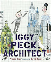 Iggy Peck, Architect book cover (a boy standing on a tower of apples, drawing a skyscraper with a pencil)