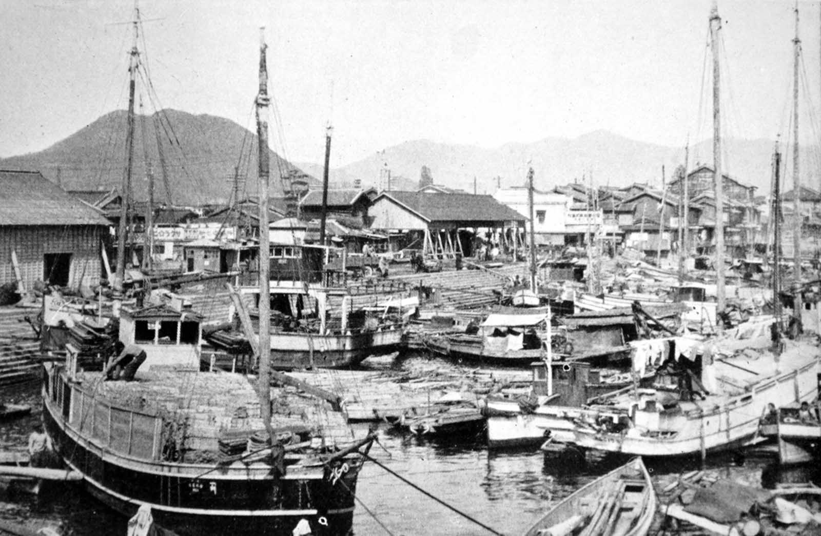 A pre-war photo of Ujina Harbor. This relatively small harbor was developed as the port for Hiroshima and was one of the principal embarkation depots for the Japanese Army during World War II.