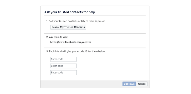 استعادة حساب Facebook مع جهات الاتصال الموثوقة