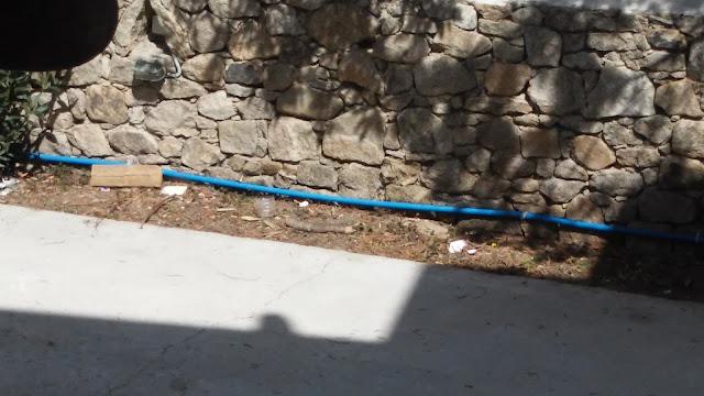 śmieci pod murkiem na skrawku ziemi