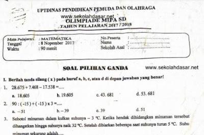 File Pendidikan Soal Seleksi OSN Olimpiade Matematika SD