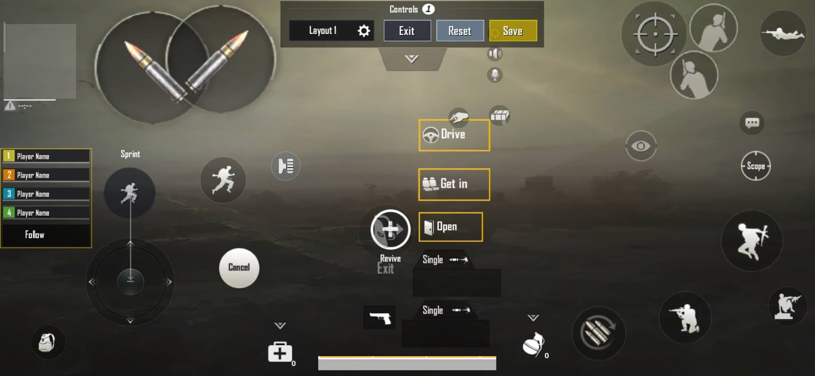 4 Finger Claw PUBG MOBILE Setup layout