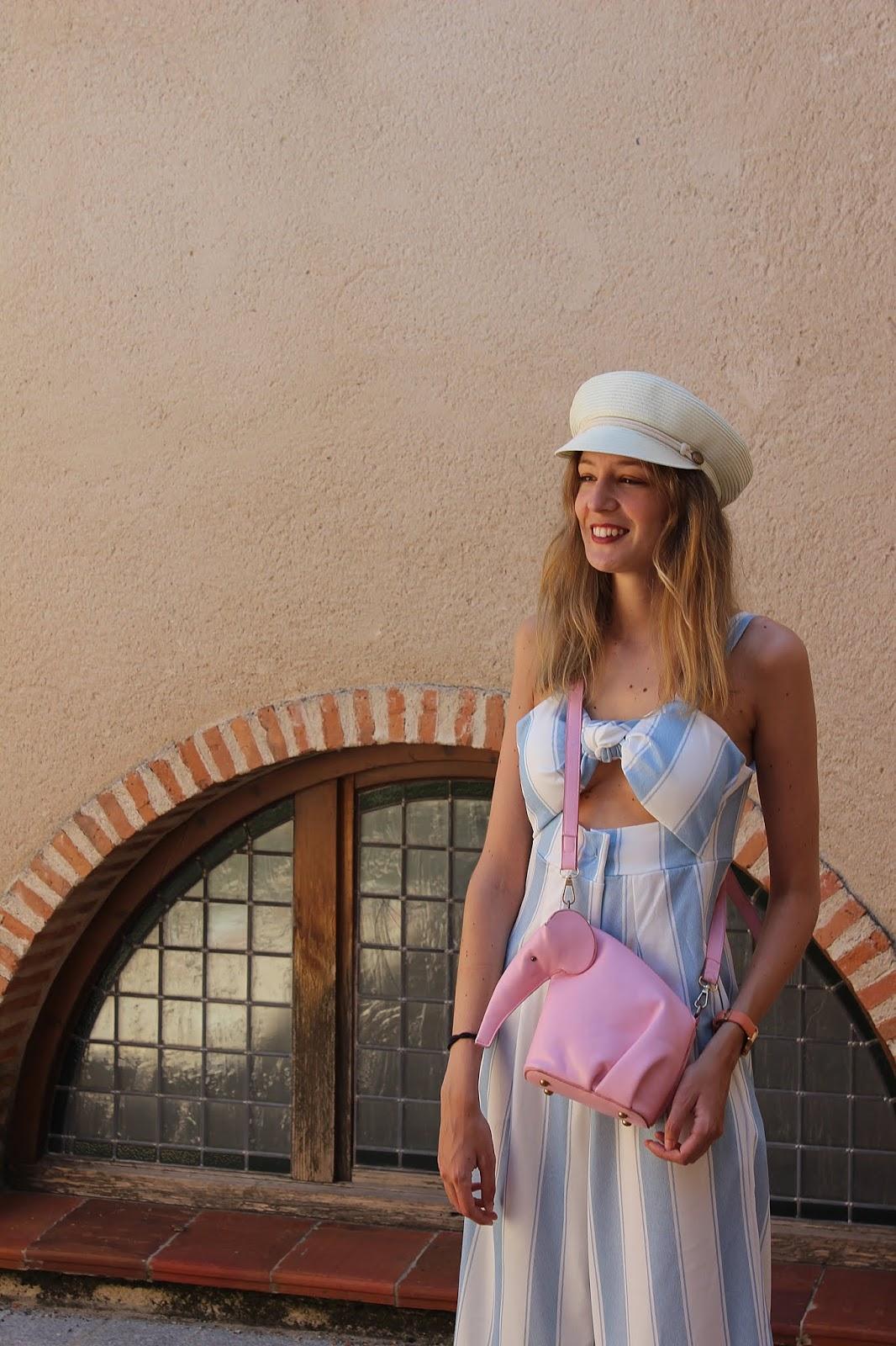 stripes-jumpsuit-baker-cap-espadrilles-loewe-elephant-bag