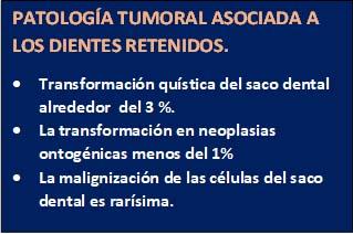 """<Img src =""""resumen-estadistico-peligrosida-de-los-dientes-retenidos.jpg"""" width = """"319"""" height """"212"""" border = """"0"""" alt = """"Cuadro estadístico resumen de la patología asociada a los dientes retenidos."""">"""