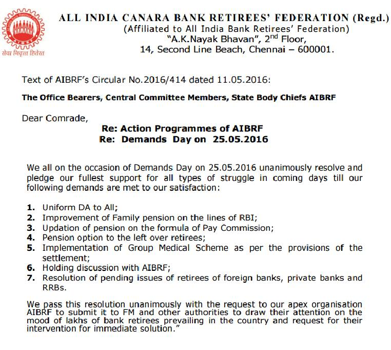 Retirees Observes Demands Day on 25th May 2016