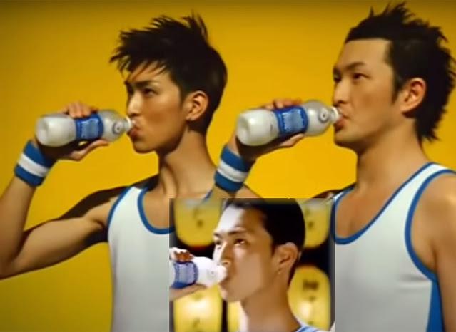 """""""Hoso matcho"""" (пишется через t, кандзи 細マッチョ) [фотоколлаж из кадров рекламы группы компаний Suntory (кана サントリー)]"""