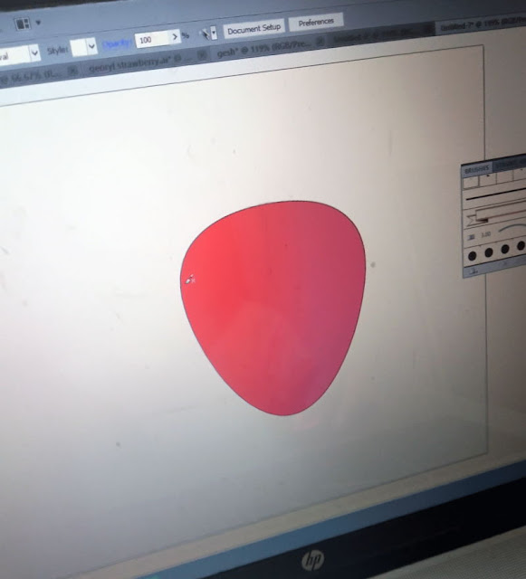 Geshery's progress with her strawberry on Illustrator, and this is for about 3 minutes only.