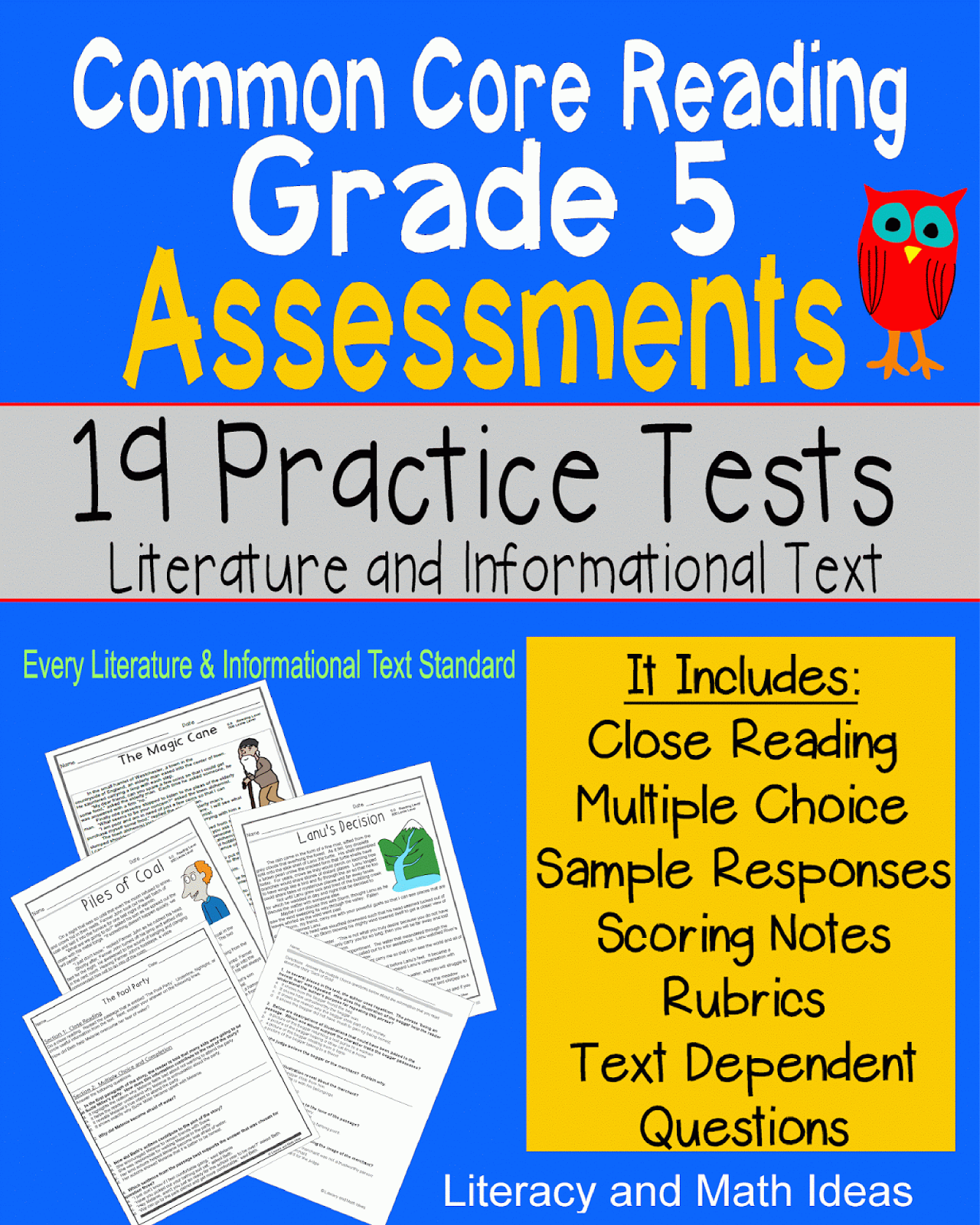 Literacy & Math Ideas Grade 5 Common Core Reading Assessment Practice (all Literature And