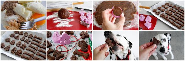 Ste-by-step making peanut butter carob banana Christmas dog treats