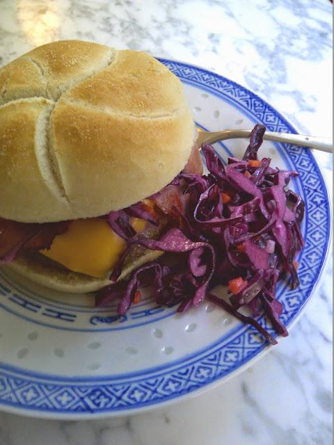 hamburger cheddar coleslaw