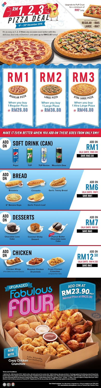 Domino's Pizza Malaysia Deal Regular Extra Large