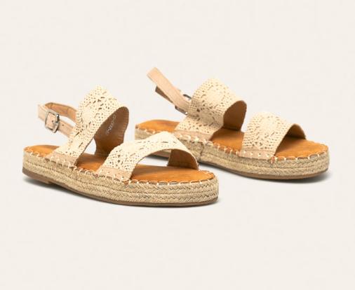 Sandale femei albe cu talpa joasa din dantela ieftine de la Answear