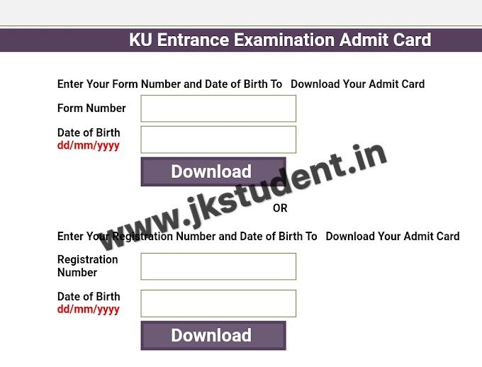 Kashmir University Admit Cards For PG Entrance Examination 2021