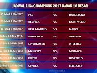Jadwal Liga Champions Terbaru 2017 Babak 16 Besar Malam Ini