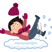 雪で転ぶ人のイラスト(女性)