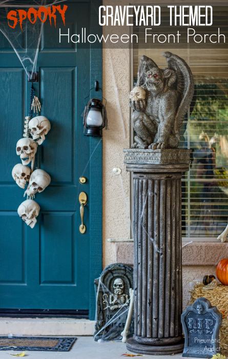 How to create a DIY spooky graveyard themed Halloween front porch.