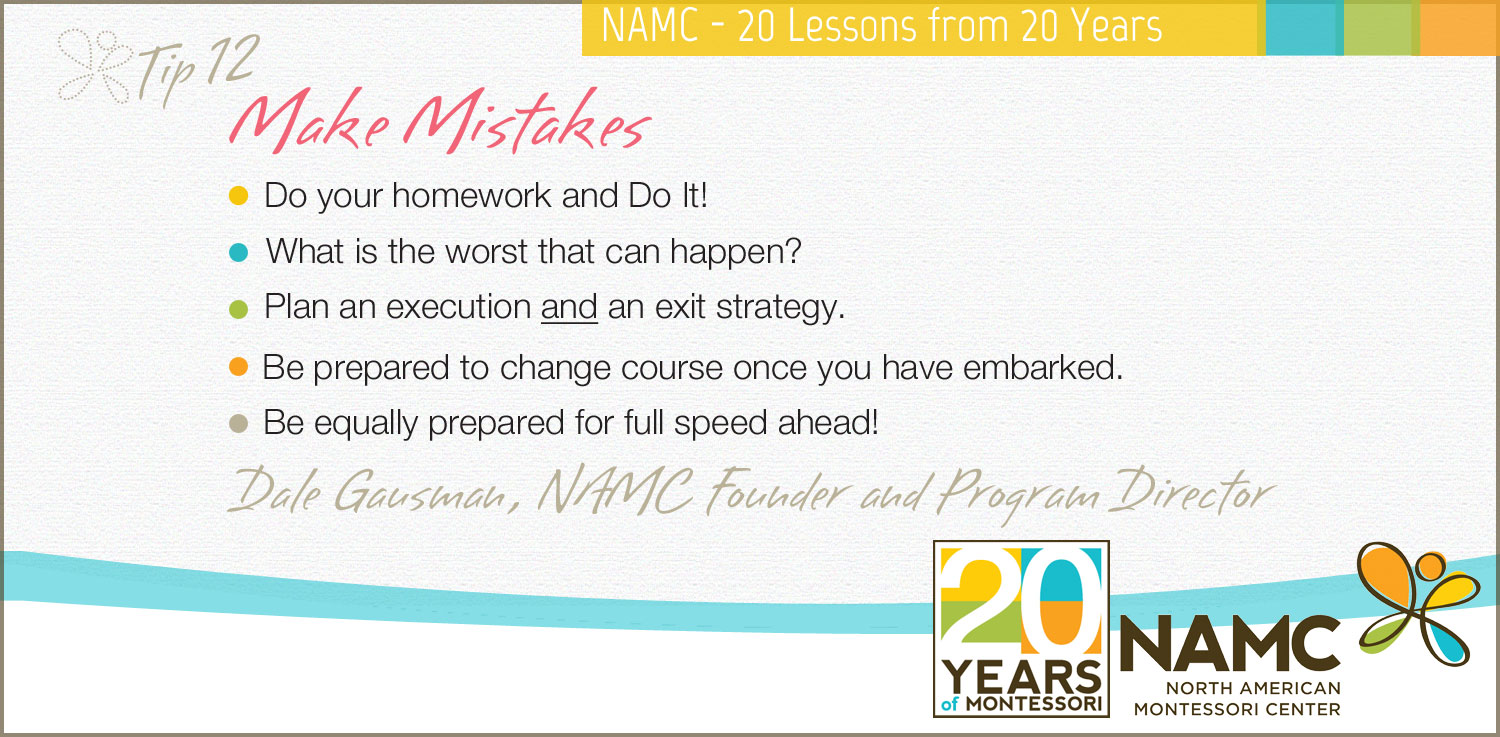 NAMC Montessori 20 lessons 20 years make mistakes
