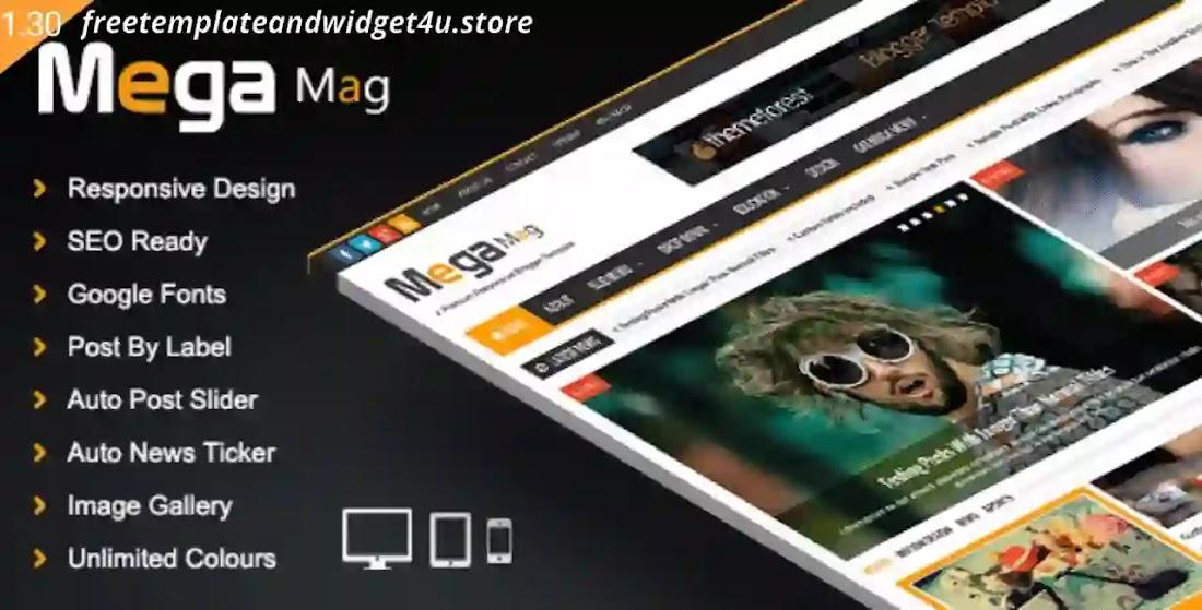 Mega Mag Responsive Blogger Template Free Premium