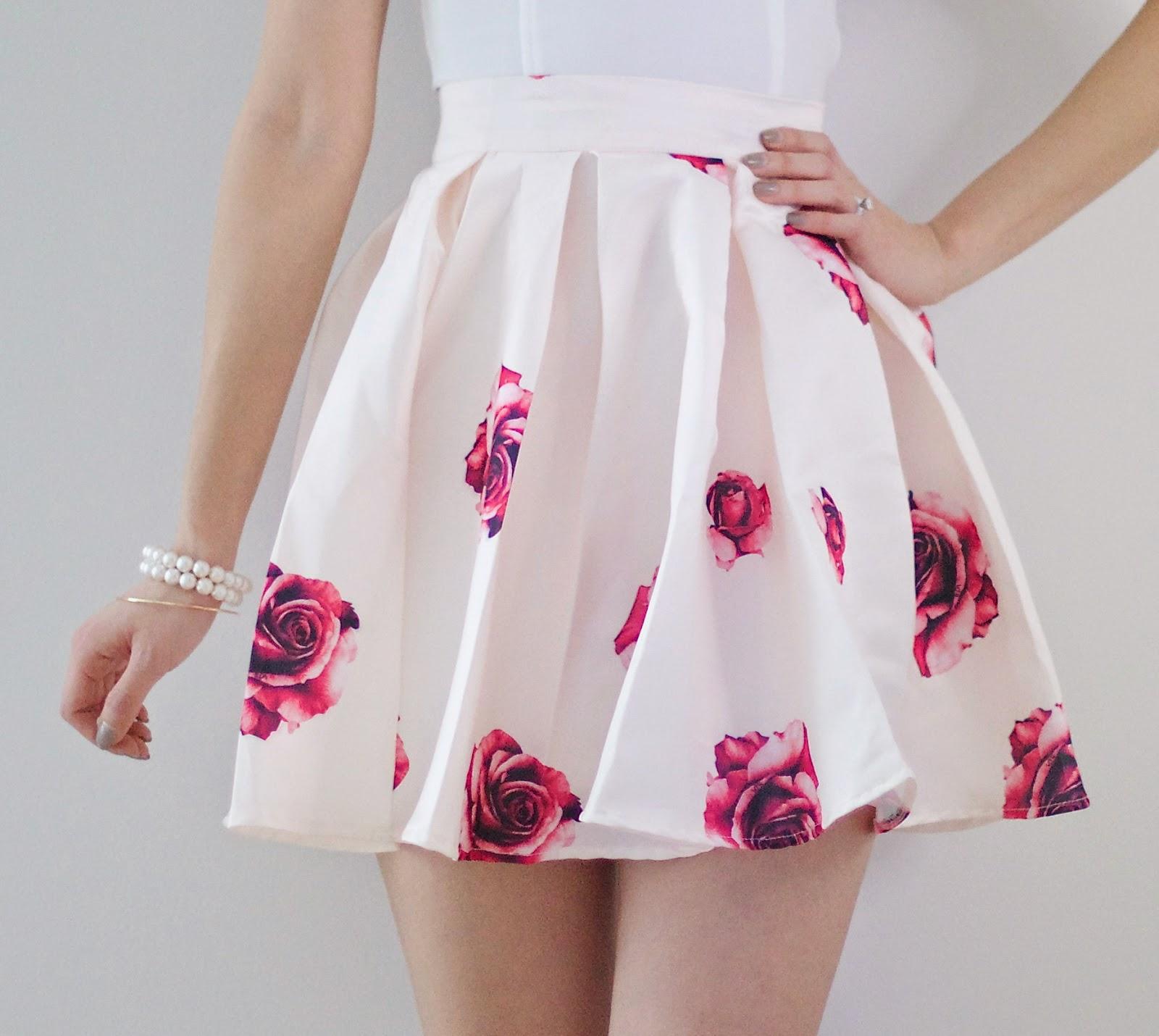 Review] Apricot Rose Print Flare Skirt - Kerina Mango