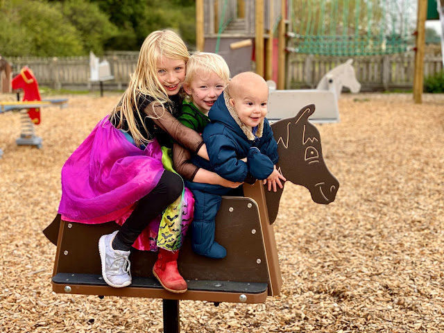 3 children ranging from 8 to 9 months on a playground rocking horse