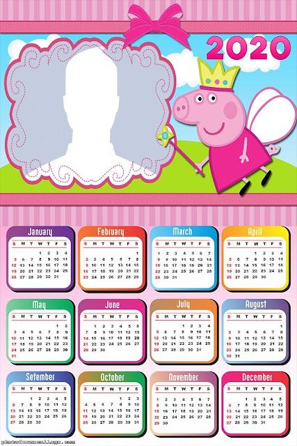 Peppa Pig: Calendario 2020 para Imprimir Gratis.
