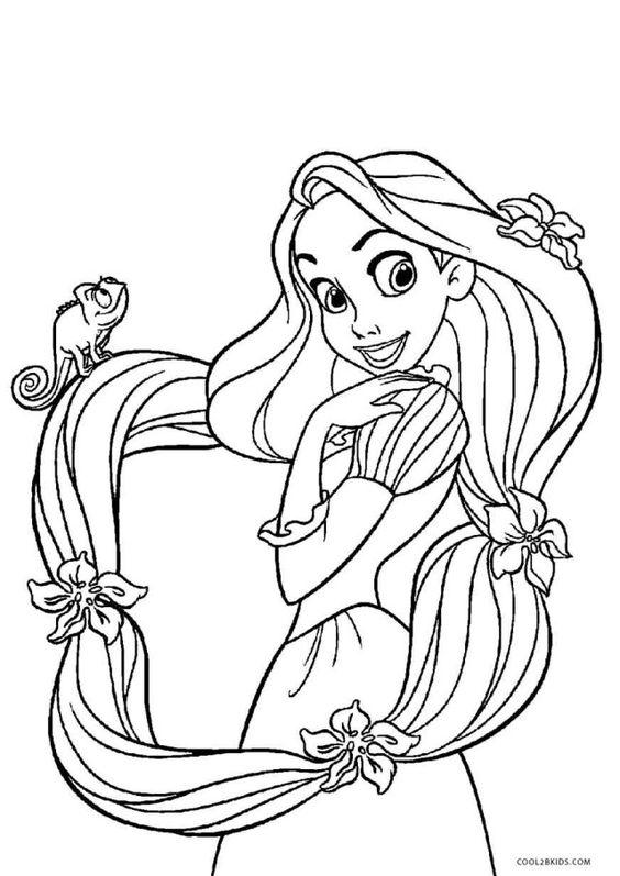 Tranh tô màu nàng công chúa tóc mây 4