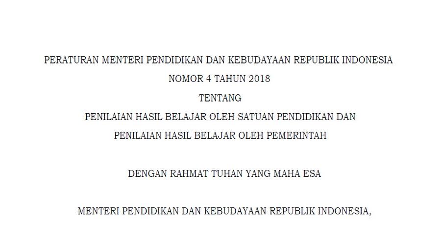 Permendikbud Nomor 4 Tahun 2018 tentang Penilaian Hasil Belajar