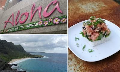 Collage - Hawaii und Poke mit Lachs und Sesam