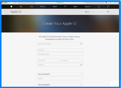 how to create apple id on web