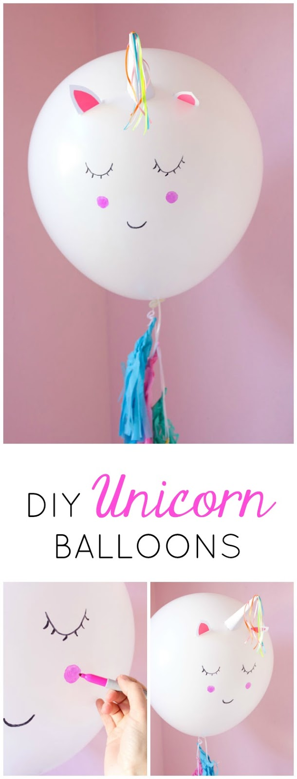Make these giant DIY unicorn balloons in minutes! Perfect for a unicorn birthday party decoration! #unicorncraft #unicornballoons #unicornparty