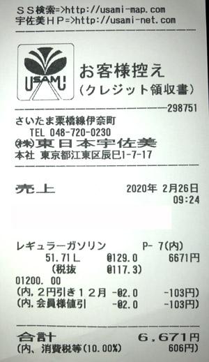 東日本宇佐美 埼玉栃木販売支店 2020/2/26 のレシート