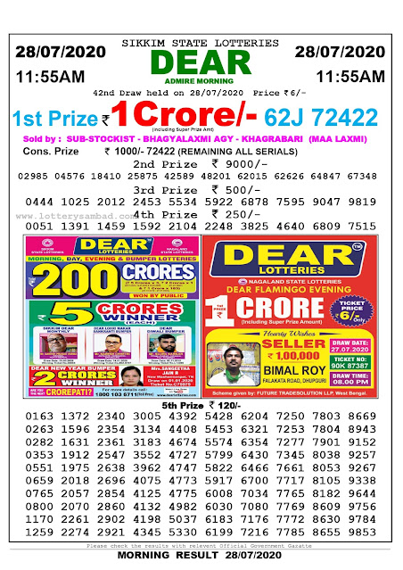 Sikkim State Lottery Sambad 28-07-2020 Today Result 11.55 AM