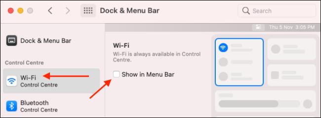 أضف وحدة Wi-Fi إلى شريط القوائم