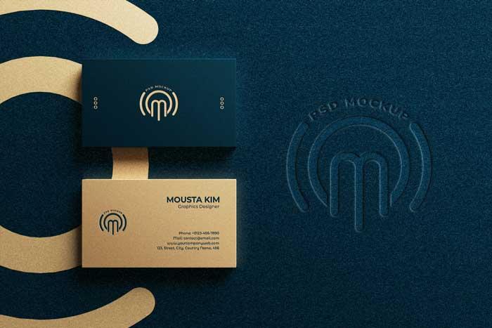 Luxury Horizontal Business Card PSD Logo Mockup