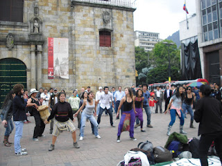 A small group of students in a peaceful dance protest in Bogotá, Colombia