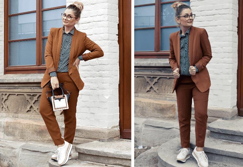Business Look für Frauen. Sneaker und Anzug stylen.