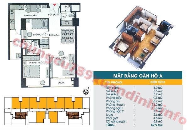 Thiết kế căn hộ A* - Tòa CT2 - Diện tích 74.1m2 Chung cư 789 Xuân Đỉnh