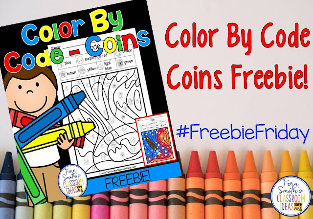 Your students will love this mixed coin identification color your answer worksheet while learning and reviewing important money skills at the same time! You will love the no prep, print and go printable for US coins with an answer key included. Fern Smith's Classroom Ideas Freebie Friday! #FernSmithsClassroomIdeas