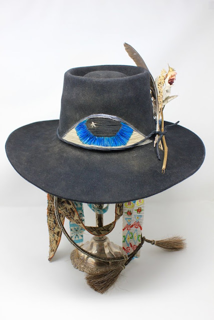 Vintage hawk hat with large all seeing eye hand embroidered by Honeywood Vintage