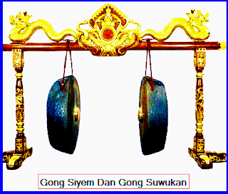Gong. Gong dapat dibedakan menjadi tiga macam, yaitu:  Gong Siyem, gong ini bernada 1 (besar). Besarnya diantara Kempul dan Gong gedhe (besar).