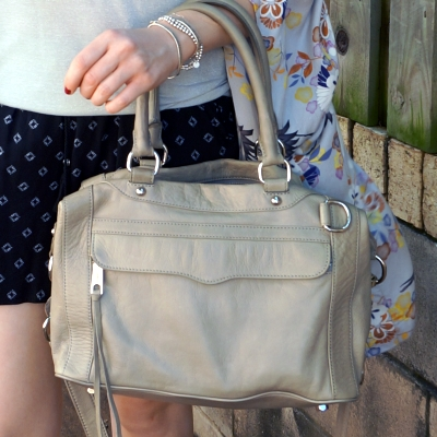 print mixing shorts outfit with Rebecca Minkoff grey MAM bag | away from the blue