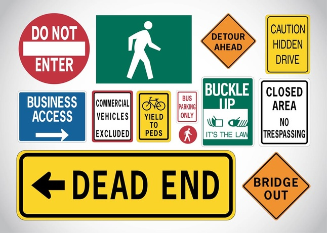 40 Traffic Signs Vector Icons Download