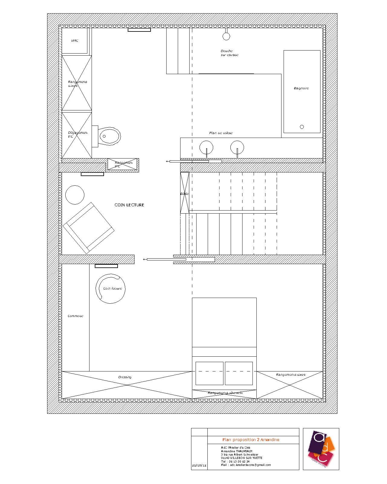 #B95A12 AdC L'Atelier D'à Côté : Aménagement Intérieur Design D  3077 plan suite parentale avec dressing 1280x1600 px @ aertt.com