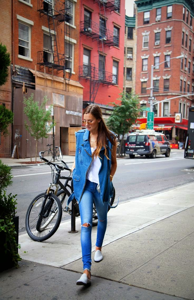 Danielle We Wore What Double Denim Moto Vest Skinny Jeans
