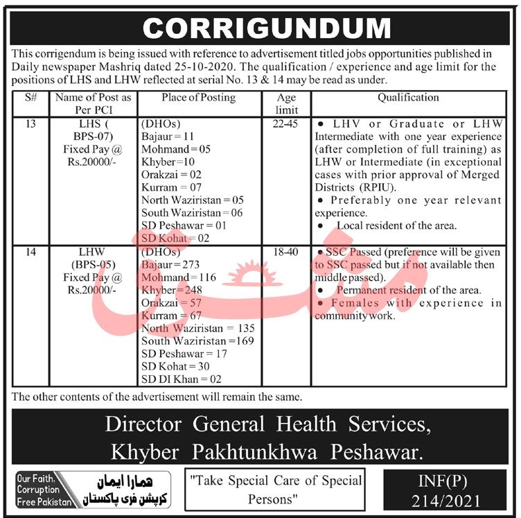Health Department Jobs 2021 - LHS Jobs 2021 - LHW Jobs 2021 - KPK Jobs 2021 - Jobs in Peshawar 2021 - Trending Jobs in Pakistan
